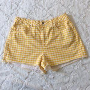 Topshop Moto Mom yellow gingham shorts